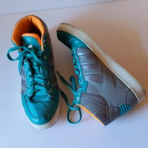Adidas gray/turquoise/orange sneakers-sz 7